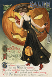 Salem  Massachusetts - Halloween Greeting - Witch Dancing and Pumpkin - Vintage Artwork
