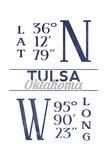 Tulsa  Oklahoma - Latitude and Longitude (Blue)