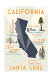 Santa Cruz  California - Typography and Icons