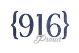 Sacramento  California - 916 Area Code (Blue)