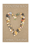 Cambria  California - Moonstone Beach - Stone Heart on Sand