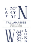 Tallahassee  Florida - Latitude and Longitude (Blue)