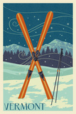 Vermont - Crossed Skis - Letterpress
