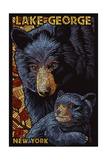 Lake George  New York - Black Bears - Paper Mosaic
