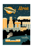 Akron  Ohio - Retro Skyline