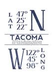 Tacoma  Washington - Latitude and Longitude (Blue)