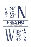 Fresno  California - Latitude and Longitude (Blue)