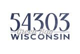 Green Bay  Wisconsin - 54303 Zip Code (Blue)