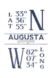 Augusta  Georgia - Latitude and Longitude (Blue)