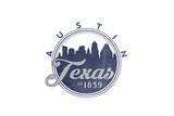 Austin  Texas - Skyline Seal (Blue)