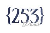 Tacoma  Washington - 253 Area Code (Blue)