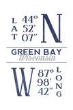 Green Bay  Wisconsin - Latitude and Longitude (Blue)