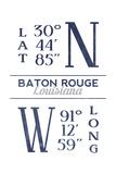 Baton Rouge  Louisiana - Latitude and Longitude (Blue)