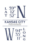 Kansas City  Missouri - Latitude and Longitude (Blue)