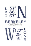 Berkeley  California - Latitude and Longitude (Blue)