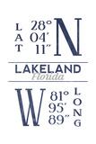 Lakeland  Florida - Latitude and Longitude (Blue)