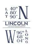 Lincoln  Nebraska - Latitude and Longitude (Blue)