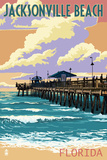 Jacksonville Beach  Florida - Pier and Sunset