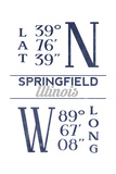 Springfield  Illinois - Latitude and Longitude (Blue)