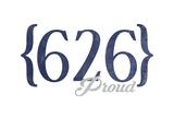 Pasadena  California - 626 Area Code (Blue)
