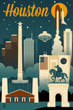 Houston  Texas - Retro Skyline