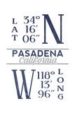 Pasadena  California - Latitude and Longitude (Blue)