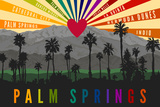 Palm Springs  California - Palm Trees and Mountains - Rainbow