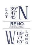 Reno  Nevada - Latitude and Longitude (Blue)
