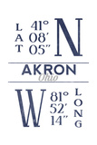 Akron  Ohio - Latitude and Longitude (Blue)