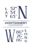 Montgomery  Alabama - Latitude and Longitude (Blue)
