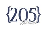 Birmingham  Alabama - 205 Area Code (Blue)