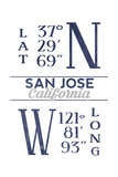 San Jose  California - Latitude and Longitude (Blue)