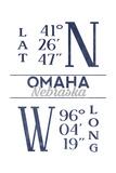 Omaha  Nebraska - Latitude and Longitude (Blue)