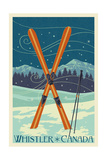 Whistler  Canada - Crossed Skis - Letterpress