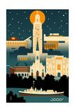 Baton Rouge  Louisiana - Retro Skyline (no text)