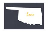 Oklahoma - Home State - White on Gray