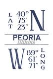Peoria  Illinois - Latitude and Longitude (Blue)