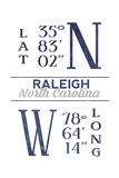 Raleigh  North Carolina - Latitude and Longitude (Blue)