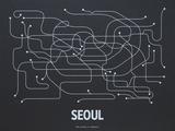 Seoul Screen Print Black Sérigraphie par LinePosters