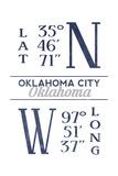 Oklahoma City  Oklahoma - Latitude and Longitude (Blue)