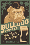Savannah  Georgia - Bulldog - Retro Stout Beer Ad