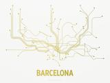 Barcelona Screen Print White Sérigraphie par LinePosters