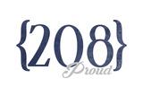 Boise  Idaho - 208 Area Code (Blue)