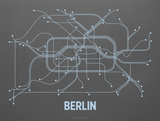 Berlin Screen Print Dark Gray Sérigraphie par LinePosters