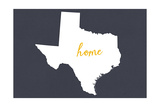 Texas - Home State - White on Gray