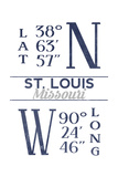 St Louis  Missouri - Latitude and Longitude (Blue)