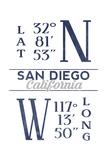 San Diego  California - Latitude and Longitude (Blue)