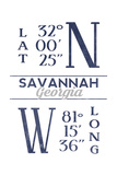 Savannah  Georgia - Latitude and Longitude (Blue)
