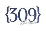 Peoria  Illinois - 309 Area Code (Blue)