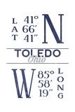 Toledo  Ohio - Latitude and Longitude (Blue)